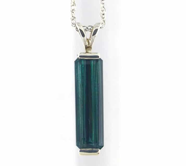 blue green tourmaline pendant in sterling silver