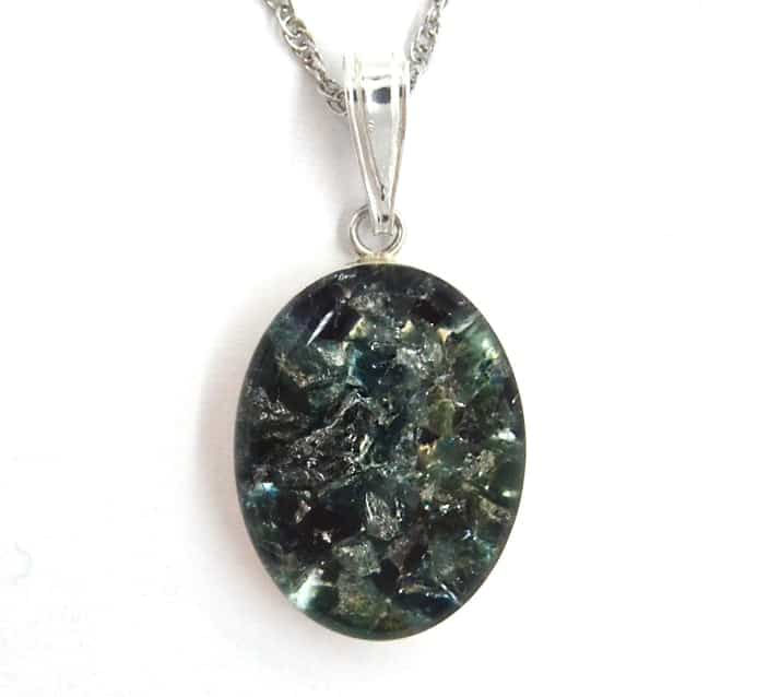 blue maine tourmaline pendant in sterling silver