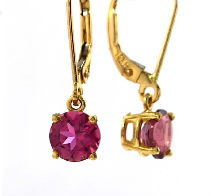 E21ty Pink Tourmaline Earrings In Yellow Gold
