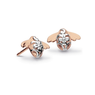 b359758fd Kit Heath Blossom Bumblebee Stud Earrings in Sterling and Rose Gold Plate